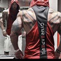 Designer Palestra Mens muscolare degli uomini rossi del nero senza maniche Canotte Tee Shirts Hoody Sport Fitness Vest Cappotti all'ingrosso