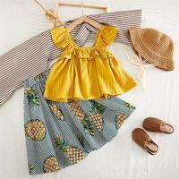 Kids Designer Kläder Tjejer Outfits Barn Ruffle Vest Tops + Ananas kjolar 2st / set sommar boutique baby kläder set