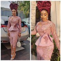 Erröten rosa Tee-Länge Prom Cocktailkleider mit Langarm 2020 Aso Ebi SpitzeApplique Rüschen Peplum afrikanischen Abend Gelegenheit Kleid