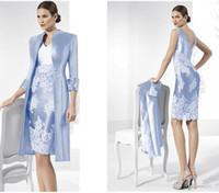 Vestidos de madre de la novia de tafetán azul cielo con vaina de la chaqueta Vestidos de madre del novio Por encargo Dos piezas Vestidos de mujer para ocasiones formales
