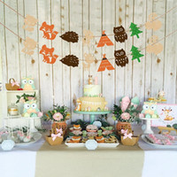 Lovely Forest Animal Bunting Banner Bambini compleanno Baby Shower Party Decor Prop Drop Shipping