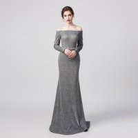 100% Real Pictures Grey Sexy Elegant Mermaid Prom Dress Off ...