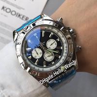 새로운 44mm 스틸 케이스 크로노 그래프 AB011011.C788 망 시계 블랙 다이얼 백색 스테인레스 스틸 팔찌 제자 시계 Hello_Watch