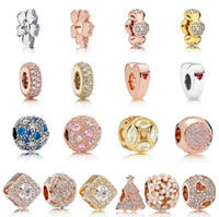 26 Styles Perles de bricolage 50pcs / lot or rose rose perle charme européen mixte ajustement bracelet charmes pandora pour les femmes bijoux bricolage Livraison gratuite