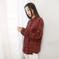 Women Plaid Casual Shirts Red Cotton Blouses Spring New Long...