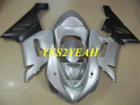 Kit de carrocería Carenado de motocicleta para KAWASAKI Ninja ZX6R 636 05 06 ZX 6R 2005 2006 ABS Plata Carenados de carrocería negro + Regalos KK13