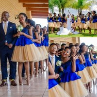 Jupe de Pays Champagne Tutu mélangée à robes de demoiselle d'honneur bleu royale et noire pour la plage de mariage de la dentelle de la dentelle des robes d'honneur