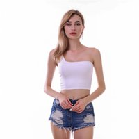 Frauen ein Schulter Crop Top Sexy Exposed Navel Slim Fit Sommer-Spitze Damen-reine Farben-T-Shirts