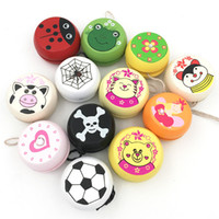 Lindos Estampados de Animales Juguetes De Madera Yoyo Juguetes de Mariquita Niños Yo-yo Creativo Yo Yo Juguetes Para Niños Niños Yoyo Ball G0149