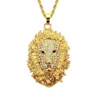 새로운 스타일의 목걸이 사자 머리 패션 펜던트 목걸이 다이아몬드 합금 특별한 목걸이 성격 밝은 펜던트 목걸이