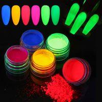6PCS Neon Pigment-Puder-Nagel-Fluoreszenz-Gradient Glitter Sommer Shinny Staub Ombre DIY Nagel-Kunst-Dekoration-Maniküre