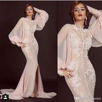 Mermaid Appliques Frontschlitz Peach Prom Arabisch Abendkleider 2018 Neue Saudi-Arabien Langarm Muslim Abendkleid Party Kleider