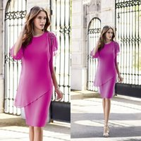2019 Chic Fuchsia Mother Of Bride Dresses Lace Applique Shor...