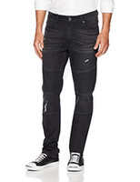 Quality Durables Co. Uomo afflosciato Athletic Fit Stretch Nero Moto Jean