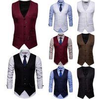 2019 Cadena de negocios formal vestido del ajuste delgado juego del chaleco de la nueva manera de los hombres calientes del chaleco sólido botón cuello en V
