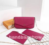 Mulheres senhoras moda clássica mini-saco POCHETTE mono flor de três peças ombro conjunto de mulheres de couro sacos crossbody embreagem bolsa de carteiras