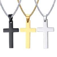 Collane pendenti a croce in acciaio inox da uomo Uomo Religione fede crocifisso charm in titanio catena di acciaio per le donne regalo di gioielli moda