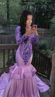 Lilla Maniche viola Mermaid Prom Dresses Sexy Africano Plus Size Abito da sera Black Girl Abito da partito formale