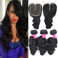 9A Loose Wave Brazilian Hair 3 Bundles With Lace Closure 100...