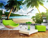 custom size 3d photo wallpaper living room bed room mural Coco beach white dove 3d picture sofa TV backdrop wallpaper non-woven sticker