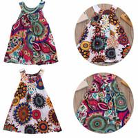 طفل طفلة ملابس الصيف اللباس البوهيمي الرباط اللباس الأزهار المطبوعة الأميرة حزب فساتين مهرجان العرقية