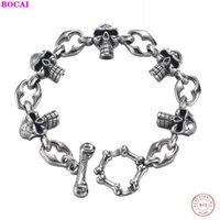 Ссылка, цепь BoCai S925 стерлингового серебра мужской браслет ретро ремесло мужской тайский грубый панк костные кольца череп 2021