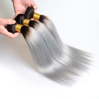Ombre 1B Grey Human Hair Extensions Straight Brazilian Virgi...