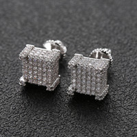 Hip Hop Earrings for Men Gold Silver Iced Out CZ Square Stud...