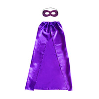 90 * 70cm 일반 색상 슈퍼 영웅의 코스프레 케이프 + 마스크 10 - 15 년의 아이들을위한 1 - 레이어 레이스 업 10 색 슈퍼 영웅 의상 할로윈 아이