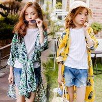 Protection en vrac Vêtements fille Tops protection solaire Cardigan Cape Mode Parent Enfant Outfit Femmes Floral Cap ouvert avant Sun