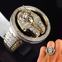 Cool Male 18k Gold Two Tone Black Enamel Diamond Ring Egyptian King Tutankhamun Ring Men Wedding Party Jewelry Size 7-13