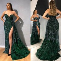 Dark Green Luxury Prom Dresses Sweetheart Sequins Beading Th...