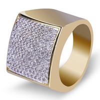 Placcato oro 18K Principessa diamante anello quadrato della fascia di Hip Hop ha ghiacciato fuori Cubic Zirconia regalo dei monili Dichiarazione Mens Wedding Ring Rapper CZ per gli uomini