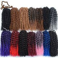 Bulbos de cabelo Falemei 90g 3 pçs / set Marlibob Curly Crochet Trança Trança Sintética Trançada Afro Twist Bundles Fibra Black Borgonha Mundial