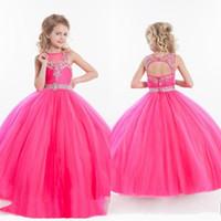 Малыш розовый дети бальное платье длина дола блеска цветок девушка платье для свадебных девочек с бисером пагентные платья маленькие для девочек