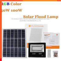 4PCS 50W 100W LED-Solarflutlicht RGB bunte Outdoor Scheinwerfer Garten-Wand-Solarbetriebene LED-Flutlicht-Fernbedienung