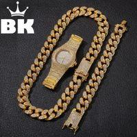 Hip Hop-Goldfarben-Cuban Kette Gold-Silber-Halskette und Armband Set Free Luxus Kombination von Uhren und Halsketten-Satz T200113