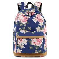 Diseñador- Nueva bolsa de hombro de lona de impresión femenina bolsa de la escuela secundaria de ocio mochila exterior femenina transfronteriza bolsa de la computadora de ocio