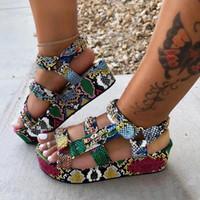 YoYedian Artı Boyutu 34-44 Yeni Bayanlar Renkli Takozlar Gladyatör Sandalet Ayakkabı Kadın Parti Yaz Sandalet Kadınlar 2021