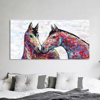 Wall Art Canvas Painting Animal Picture Colorful Couple Hors...