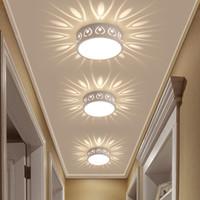 Simples moderno 3W LED downlight corredor corredor alpendre holofotes criativos balcão redondo luzes de teto de metal acrílico dia15cm