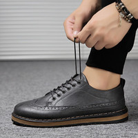 2018 new European and American style suit business shoes men's Korean version of the Brock men's shoes tide models wild breathable fashion c
