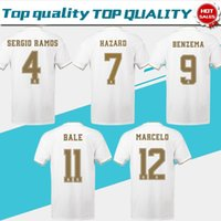2019 Real Madrid Home White # 7 DANGER # 9 BENZEMA # 11 BALE maillots de football 19/20 Hommes de maillots de football real madrid Uniformes de football