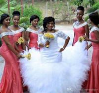 2019 Afrika Nijeryalı Nedime Elbise Su Kavun Uzun Bahar Yaz Örgün Düğün Parti Konuk Hizmetçi Onur Kıyafeti Artı Boyutu Custom Made