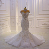 2020 Yeni Lüks Yüksek Boyun Kristal Boncuklu Mermaid Gelinlik Vintage Arapça Dubai 3D Çiçekler Artı Boyutu Gelin Kıyafeti