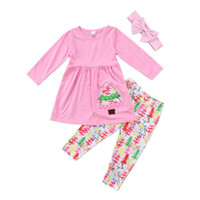 크리스마스 트리 아이 여자 아기 옷 옷 T 셔츠 톱 드레스 + 바지 레깅스