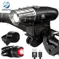USB Rechargeable LED Flashlight Bicycle Light Bike Lamp Fron...