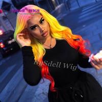 섹시한 여자의 합성 레이스 프런트 가발 루스 김 컬 웨이브 핑크 선염 노랑, 빨강 색 헤어 레이스 프런트 가발