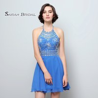 Halter Beads Backless Praia Curta Chiffon A Linha de Baile Mini Vestidos 2019 Sexy Cocktail Dress Formal Formatura Homecoming Party Gown SD394