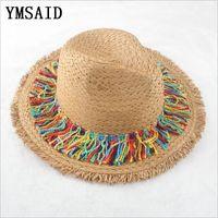 a51bb87a5b6ee 2019 Men Women Panama Straw Hats Fedora Stingy Brim Hats Soft Vogue ...